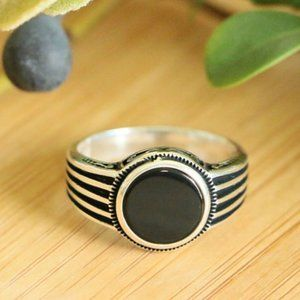 925 Sterling Silver Men's Rings With Natural Onyx